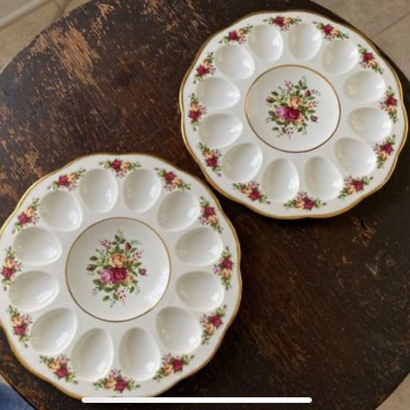 2 Deviled Egg Trays Old Country Roses-Royal Albert